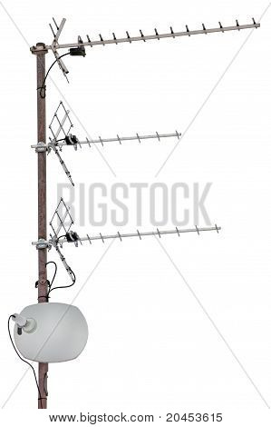 Tv And Communication Aerials On Roof Of Residential House, Isolated Antennas, Dish