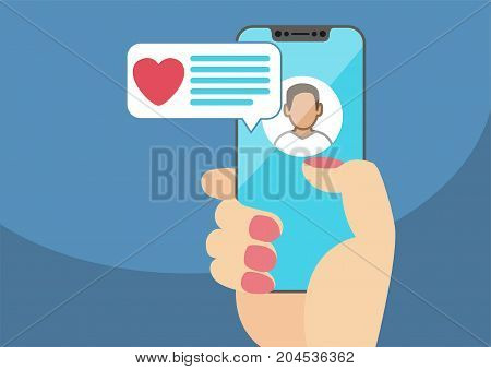 Concept of online dating and mobile chat app. Female hand holding modern bezel-free smartphone as vector illustration with heart icon in chat window.