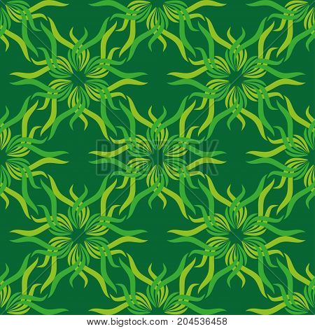 Seamless abstract vintage bright green pattern. Vector illustration