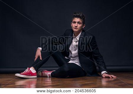 One Young Teenage Boy, Sitting Posing Model
