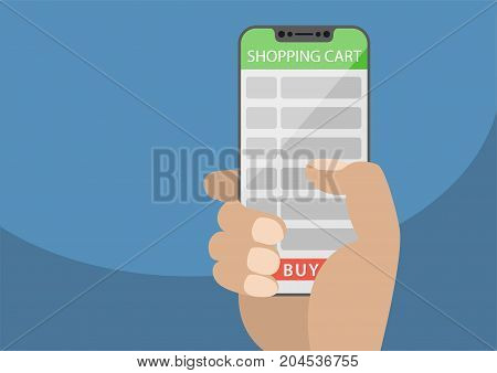 Hand holding bezel-free smart phone with shopping cart list as concept of online shopping. Vector illustration with frameless touchscreen displaying buy button.