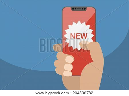 New app concept displayed on frameless touchscreen as vector illustration. Hand holding bezel free smartphone with new icon.