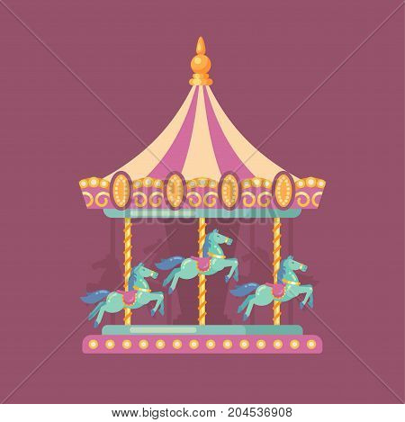Funfair carnival flat illustration. Amusement park illustration of a pink and yellow carousel with horses at night