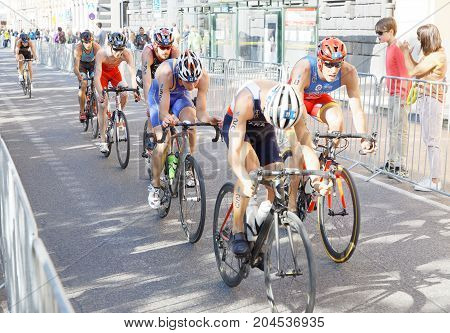 STOCKHOLM - AUG 26 2017: Group of male triathlete cyclists in the Men's ITU World Triathlon series event August 26 2017 in Stockholm Sweden