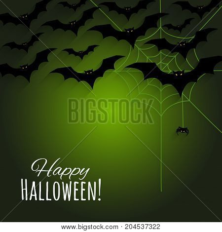 Happy Halloween background with black silhouettes bats, spider web and small spider. Vector illustration.