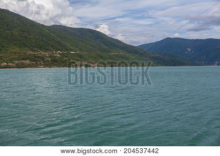 Majestic Mountain Lake In Georgia.