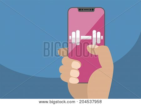 Health or fitness app concept on frameless touchscreen as vector illustration. Hand holding bezel free smartphone with icon of gym weights