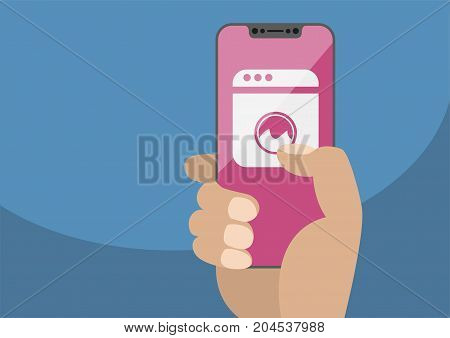 Smart home automation concept with hand holding bezel-less smartphone. Vector illustration with washing machine icon on frameless touchscreen