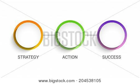 3 circles business presentation concept. 3 steps diagram information template for business.