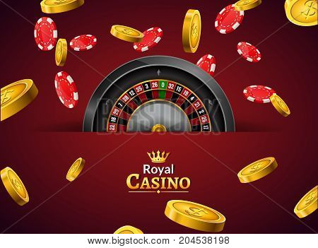 Casino roulette with chips and coins realistic gambling poster banner. Casino vegas fortune roulette wheel design flyer.