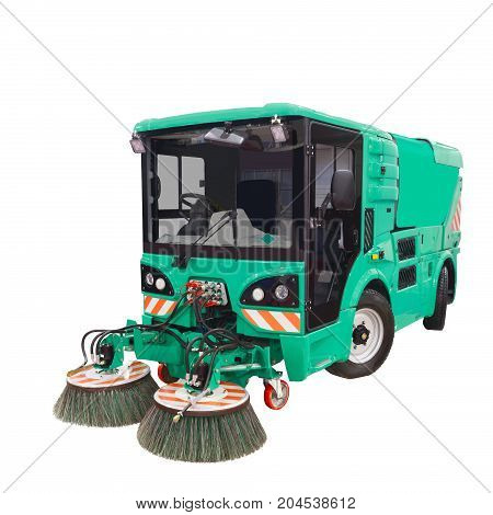 New street sweeper machine on white isolated background