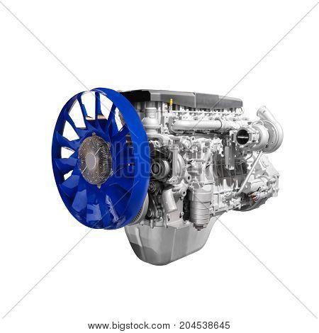 Modern heavy duty truck diesel turbodiesel engine isolated on white background