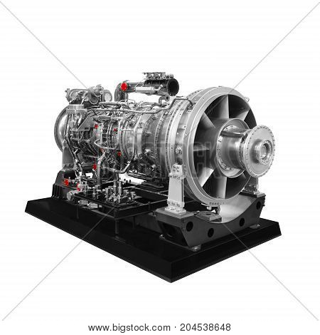 Gas turbine aircraft engine isolated on white background