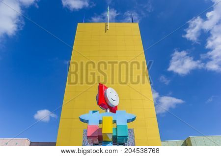 GRONINGEN, NETHERLANDS - APRIL 03, 2017: Modern sculpture in front of the museum in Groningen Holland