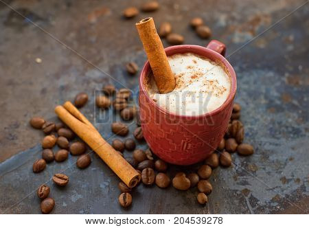 Hot chocolate with cinnamon stick as spoon