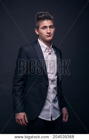 One Young Teenage Boy, Wearing Suit Jacket Shirt, Upper Body