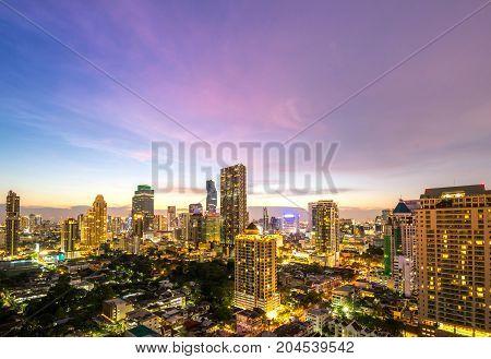 cityscape of Bangkok city at night landscape Thailand