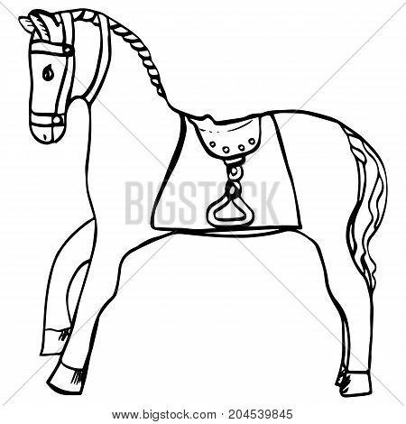 Hand drawn horse with saddle and harness. Cartoon animal for kids room, prints, posters, covers, coloring book, shop, posters, design. Vintage illustration, festive carousel figure, circus, carnival.