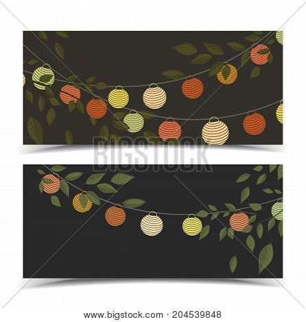 Vector illustration of leaves with colored lantern chain. Two invitation card, party celebration