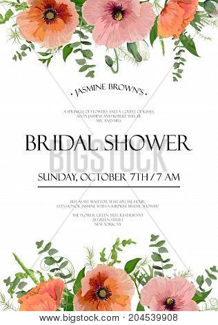 Bridal shower vector template Invitation card design: light pink red peach garden Poppy anemone flowers eucalyptus gym tree branches green leaf herb mix floral background frame border with text space