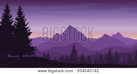 Panoramic view of mountain landscape with forest and hill under violet sky with dawn and clouds - vector illustration