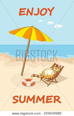 Colorful drawn cartoon cat on the beach in the sunlounger. Summer vacation concept background with text Enjoy summer. eps 10.