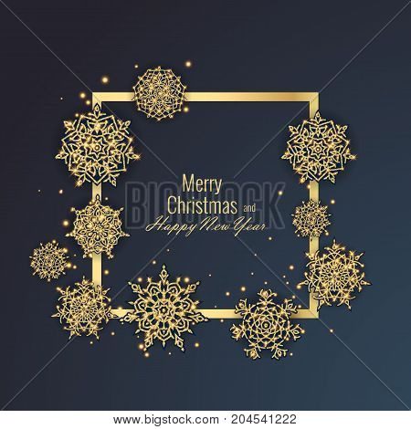 Merry Christmas and Happy New Year 2018 greeting card, vector eps 10 illustration