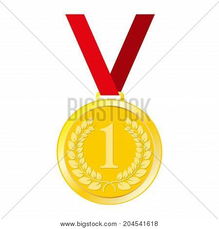 Medal icon. Gold medal with ribbon isolated on white background. First place award or winner sign. Vector illustration.