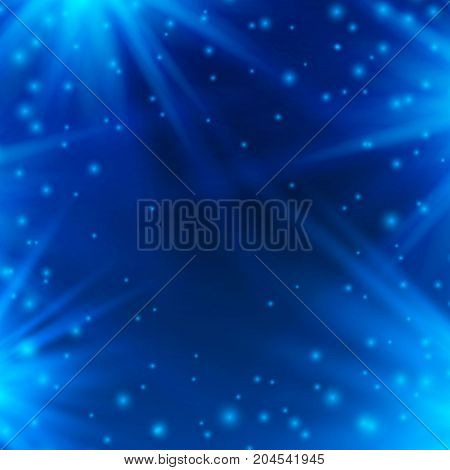 Neon background of blue with rays of light. Vector illustration