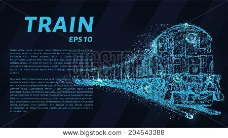 The Train Which Consists Of Points. Particles In The Form Of A Train On A Dark Background. Vector Il