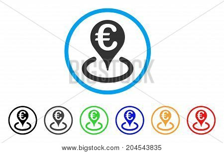 Euro Bank Map Marker icon. Vector illustration style is a flat iconic euro bank map marker grey rounded symbol inside light blue circle with black, gray, green, blue, red, orange color variants.