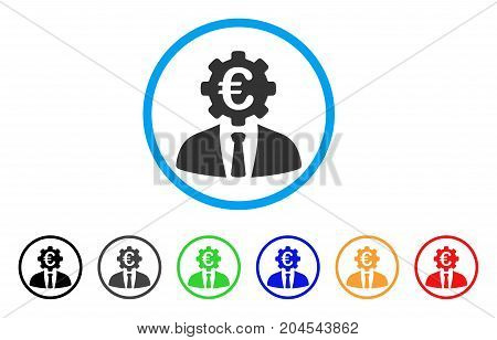 Euro Banker icon. Vector illustration style is a flat iconic euro banker grey rounded symbol inside light blue circle with black, gray, green, blue, red, orange color variants.