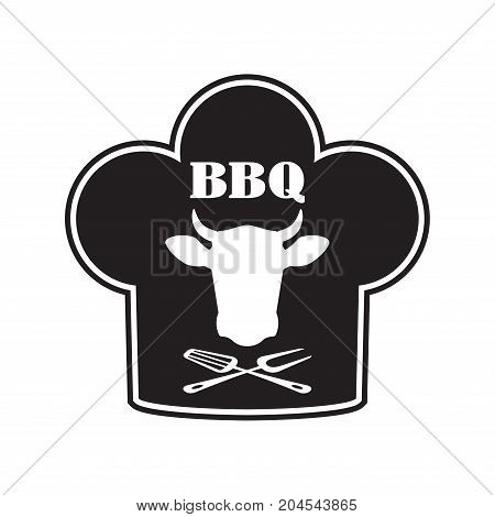 Barbecue label or BBQ sign with beef and chef hat emblem isolated on white background. Grill menu design template. Vector illustration.