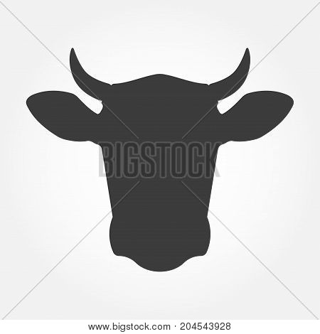 Cow head icon. Cow head silhouette. Farm animal sign. Vector illustration.