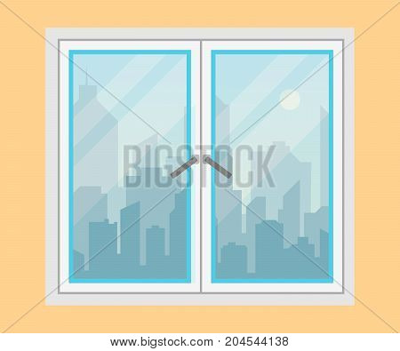 Window and city view. Morning city skyline silhouette . Modern urban landscape. Cityscape backgrounds. Flat style vector illustration.