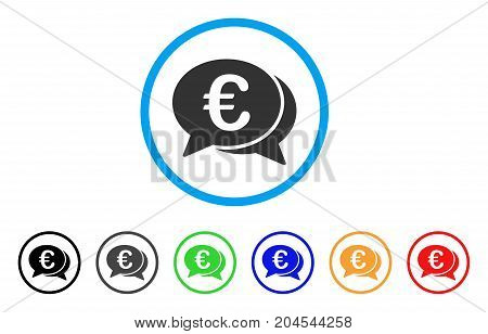 Euro Financial Transactions icon. Vector illustration style is a flat iconic euro financial transactions grey rounded symbol inside light blue circle with black, gray, green, blue, red,