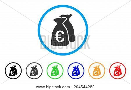 Euro Funds icon. Vector illustration style is a flat iconic euro funds grey rounded symbol inside light blue circle with black, gray, green, blue, red, orange color variants.
