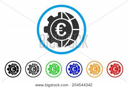 Euro Global Industry icon. Vector illustration style is a flat iconic euro global industry gray rounded symbol inside light blue circle with black, gray, green, blue, red, orange color versions.