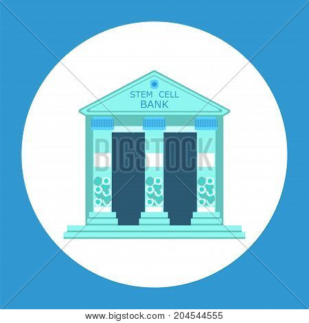 Stem cell banking. Stock vector illustration of a building with columns formed by tubes. Storage for cryopreservation of human body samples for regenerative medicine purpose.