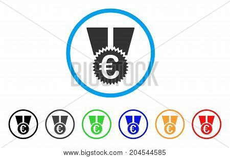 Euro Medal icon. Vector illustration style is a flat iconic euro medal grey rounded symbol inside light blue circle with black, gray, green, blue, red, orange color additional versions.