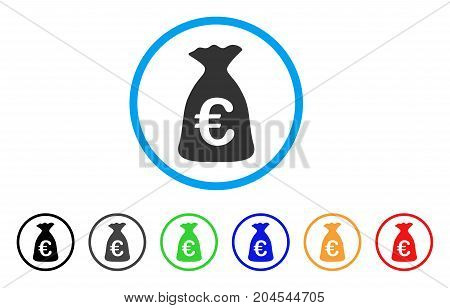 Euro Money Bag icon. Vector illustration style is a flat iconic euro money bag grey rounded symbol inside light blue circle with black, gray, green, blue, red, orange color additional versions.