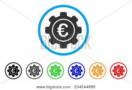 Euro Settings icon. Vector illustration style is a flat iconic euro settings gray rounded symbol inside light blue circle with black, gray, green, blue, red, orange color versions.