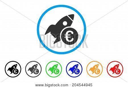 Euro Startup Rocket icon. Vector illustration style is a flat iconic euro startup rocket gray rounded symbol inside light blue circle with black, gray, green, blue, red, orange color versions.