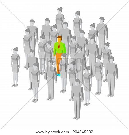 Alone in the crowd. One colored man among gray people. Loneliness or misunderstanding concept. Unique person and middlebrow. 3d isometric vector illustration, isolated on white background.
