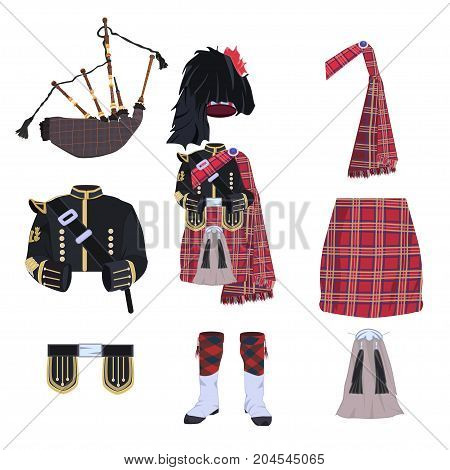 Vector set of scottish traditional costume elements and bagpipes. Flat style design elements, icons isolated on white background.