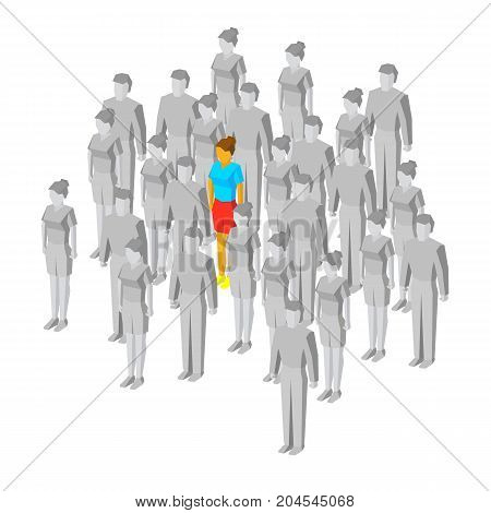 Alone in the crowd. One colored girl among gray people. Loneliness or misunderstanding concept. Unique person and middlebrow. 3d isometric vector illustration, isolated on white background.