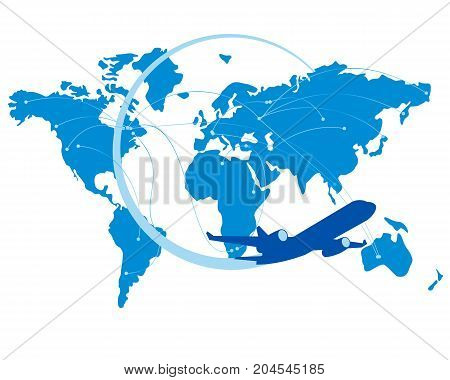Blue jet airplane silhouette with map of the world behind. Lot or arcs, connecting points - flight trajectories. Global air travel or business concept. Isolated on white background.