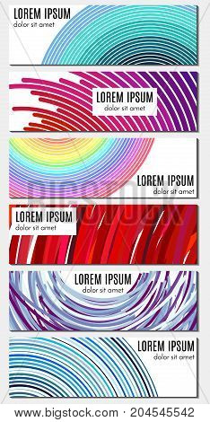 Set of six colorful abstract header banners with curved lines and place for text. Vector backgrounds for web design.