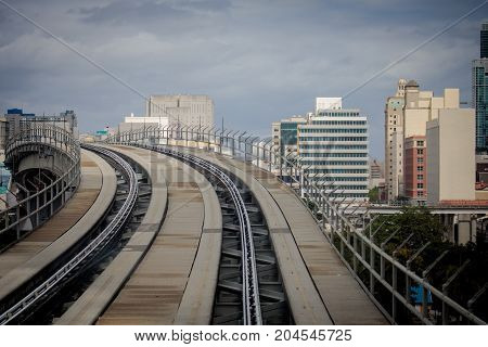 Rails Of A Metromover Train