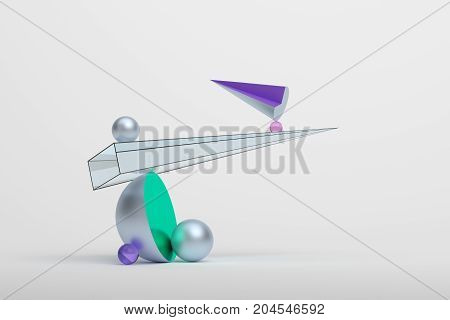Abstract 3d rendering of geometric shapes. Surreal composition. Balance concept. Modern background design for poster, cover, branding, banner, placard.
